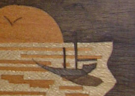 detail of repolished marquetry